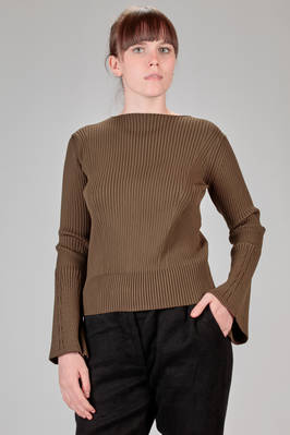hip length sweater in stretch vertical ribs knitting of polyester  - 121