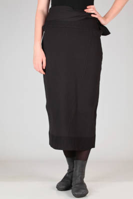 slim fit longuette skirt in stretch vertical ribs knitting of polyester  - 121