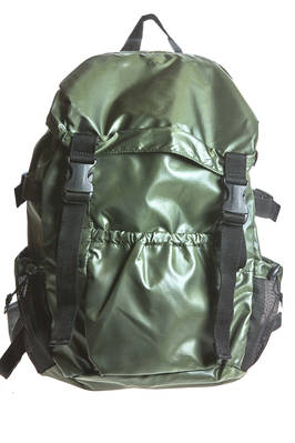 back pack of medium dimensions in smooth nylon canvas with micro check pattern  - 121