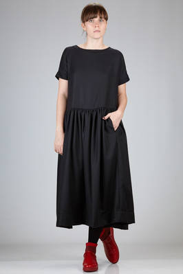 long and wide dress in twill on wool and cashmere  - 347