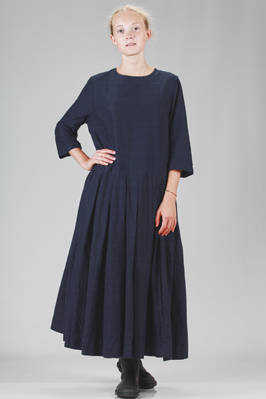 long and wide dress in indigo moleskin cotton, lined in cotton canvas  - 347