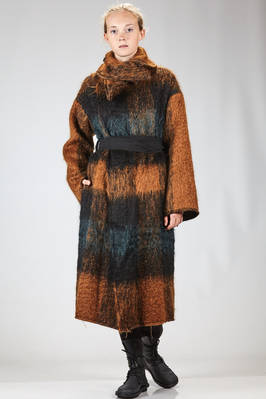 long and wide coat in new wool and polyamide mouflon with melange squares  - 161