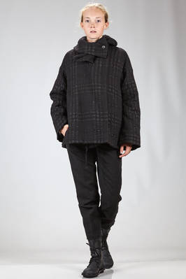 hip length pea coat in textured new wool matelassé with irregular squares  - 161