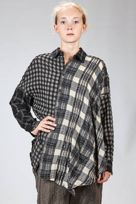 long, asymmetrical and wide shirt with patchwork of different kinds of check in new wool and cotton  - 161