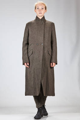 long and waisted coat in diagonal brushed saxony of camel and viscose with antique effect  - 161