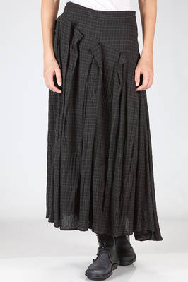 wide, long and asymmetrical skirt in washed and wrinkled crêpe of viscose, cotton and new wool  - 161