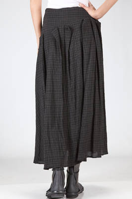 wide, long and asymmetrical skirt in washed and wrinkled crêpe of viscose, cotton and new wool - FORME D' EXPRESSION