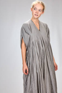 long and wide dress in boiled and embossed wool and polyamide jersey, all doubled on contrasting color lining - MARC LE BIHAN