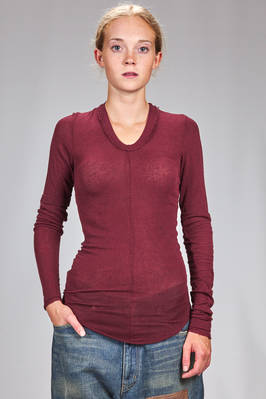 long and slim fit t-shirt in rayon, wool and elastane  - 163