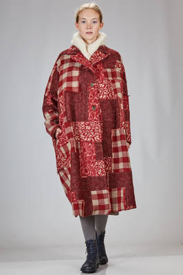 long and wide coat in check patchwork of wool, alpaca and mohair, like a tapestry and hand needled  - 346