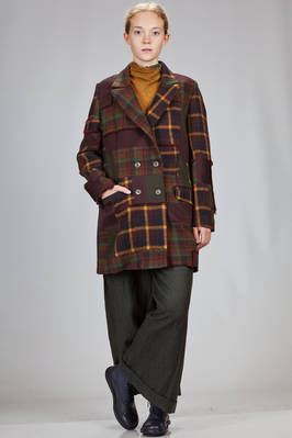 short coat in new wool tartan patchwork of different shades  - 346