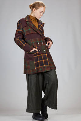short coat in new wool tartan patchwork of different shades - MIAORAN