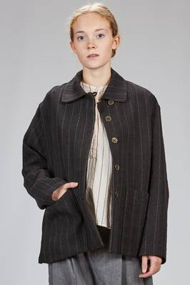 long and wide jacket in wool and linen denim on the front and wool knitting on the back  - 346