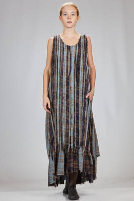 long and wide dress made of raw cut fabric bands of different viscose tartan  - 346