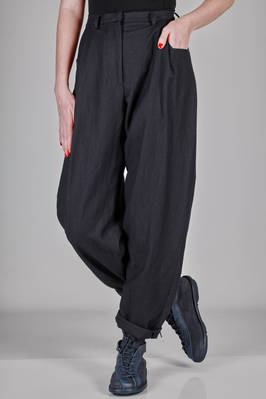 wide trousers in flannel of virgin wool and ramié  - 346