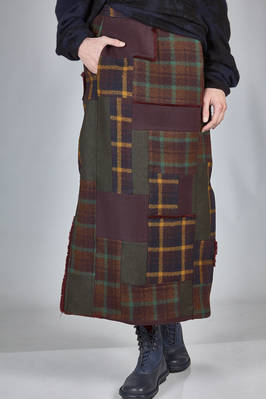 longuette tube skirt in different shades patchwork of new wool tartan  - 346