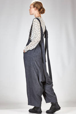 wide trousers in very soft melange modal, wool and nylon sallia, cupro lined - NOCTURNE #