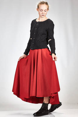 wide and asymmetrical skirt in very soft cloth of nylon and wool, cupro lined - NOCTURNE #