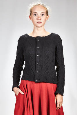 hip length cardigan in cotton and polyurethane knitting with vertical braiding  - 340