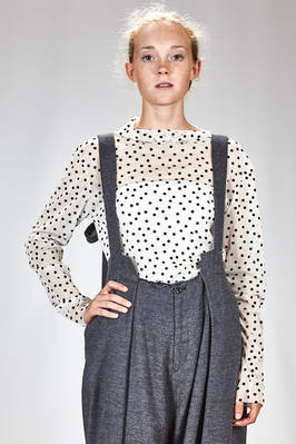 hip length t-shirt in polyester net with patched polka dots in rayon and nylon velvet  - 340