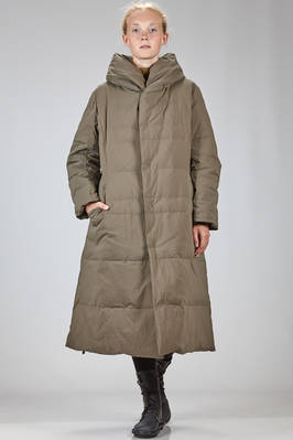 long and waisted padded coat in matt nylon and polyurethane cloth with padding in down and feather  - 327