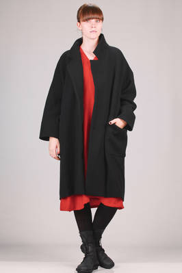 calf length coat in hand soft woolen cloth, lined in cupro  - 327