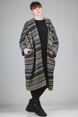 calf length coat in wool mohair, polyester and acrylic with multicolor lines  - 327