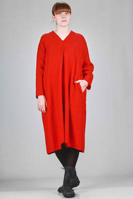 wide, calf length dress in wool sallia, linen and cotton  - 327