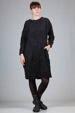 knee length dress in wool and polyester froissé  - 327