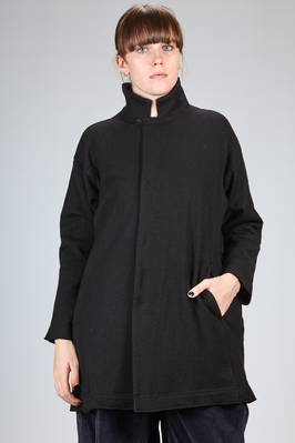 long and wide jacket on very soft jersey of boiled wool  - 327