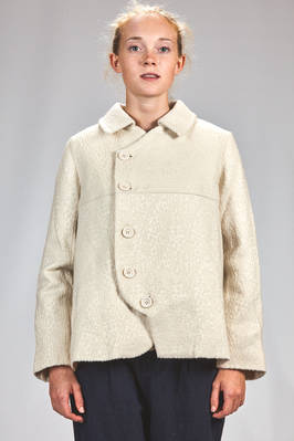 hip length pea coat in mulberry wool and silk with tone on tone devoré effect - RENLI SU