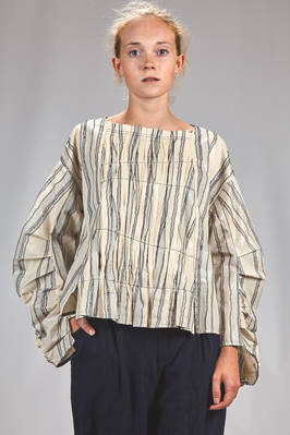 wide hip length shirt in 'lacquered' canvas of cotton and polyester with irregular and shaded vertical stripes, in cotton and mulberry silk on the inside  - 359