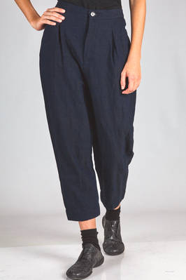 trousers in washed indigo canvas of cotton, wool and metallic thread with slightly iridescent reflex  - 359