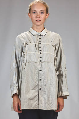 long and wide shirt in washed canvas of viscose, cotton and linen with vertical stripes and inner linen and mulberry silk  - 359