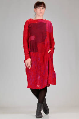 calf length dress in silk chiffon with big felted wool motif with 'rothko' effect  - 344