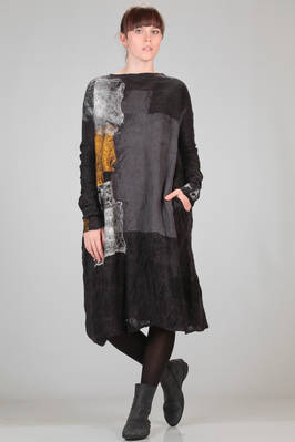 calf length dress in silk chiffon with felted wool motif with 'rothko' effect  - 344