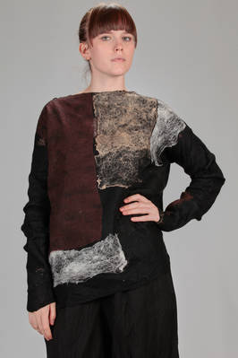 long and wide sweater in silk chiffon with big felted 'rothko' motif of merinos wool  - 344