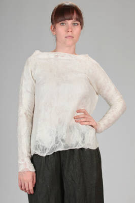 hip length sweater in silk chiffon and merinos wool felted together  - 344