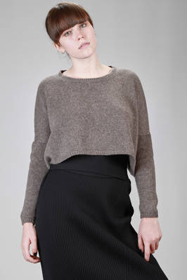 short and wide sweater in melange cashmere knitting  - 360