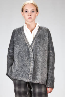 hip length cardigan in very soft shaded cashmere and polyamide knitting  - 360