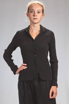 hip length shirt in vertical and irregular froissé of stretch cotton, slim fit  - 362