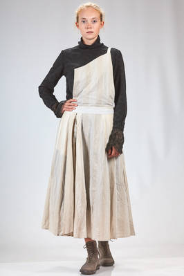 long skirt in washed canvas of viscose, cotton and linen with vertical stripes and in linen canvas and mulberry silk on the inside  - 359