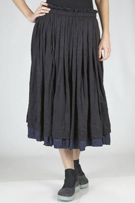 wide longuette skirt in doubled and wrinkled polyester and cotton jersey  - 97