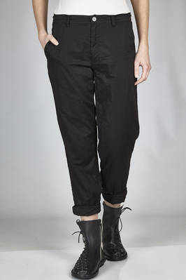 slim fit trousers in wrinkled and doubled cotton voile on a cupro base  - 97