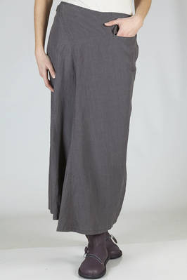 wide and flared skirt in wrinkled linen canvas  - 97