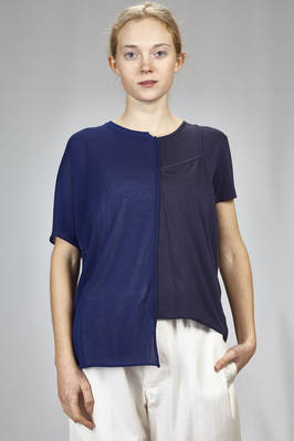 hip length asymmetrical t-shirt in cotton and acetate knitting and tencel and polyurethane jersey  - 97