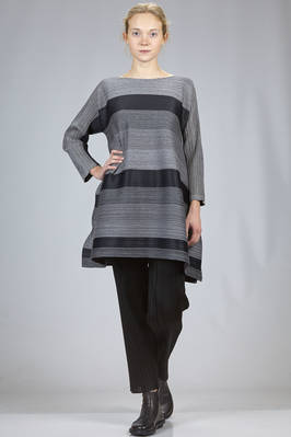 wide tunic in horizontal cotton and polyester plissé with wide melange horizontal stripes  - 111