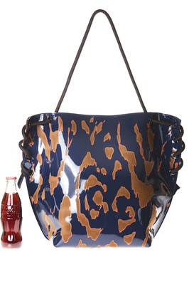 bag shaped as a big sachet in shinny polyvinyl with parts in contrasting color devoré fabric  - 111