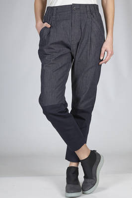 trousers in very light cotton denim and bicolour polyester  - 47