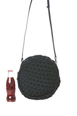 small cross body bag in steam stretch polyester and polyurethane plissé and leather parts  - 47